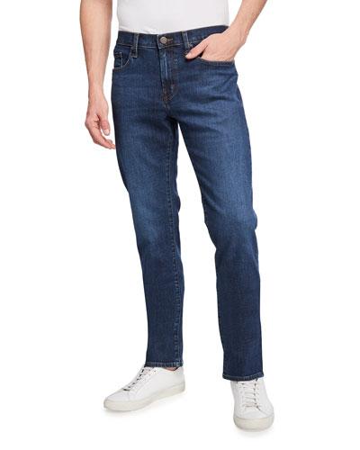Kane Straight-Leg Pima Cotton-Blend Jeans, Dark Indigo