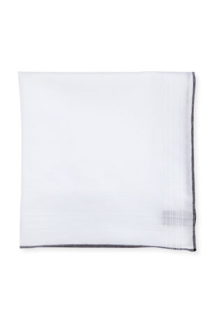 TOM FORD Solid Linen-Cotton Pocket Square, White