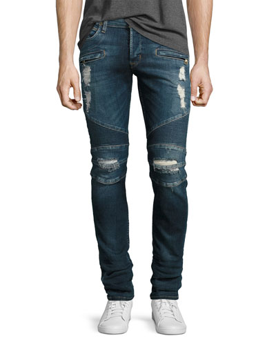Blinder Biker Distressed Skinny Jeans, Faction (Blue)
