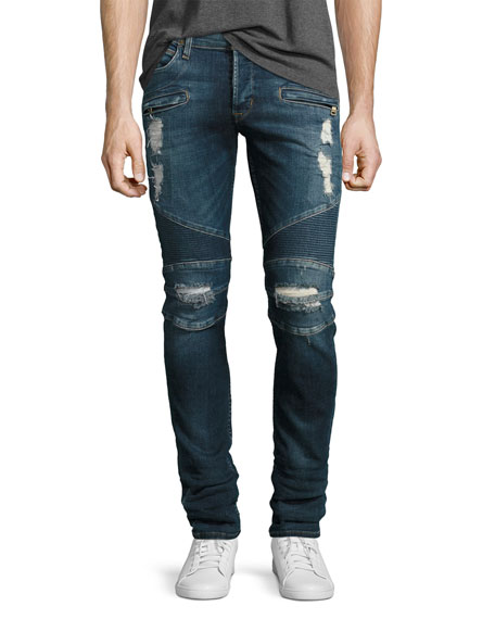 Hudson Blinder Biker Distressed Skinny Jeans, Faction (Blue)