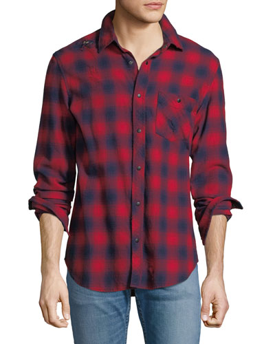 Blurry Plaid Western Shirt