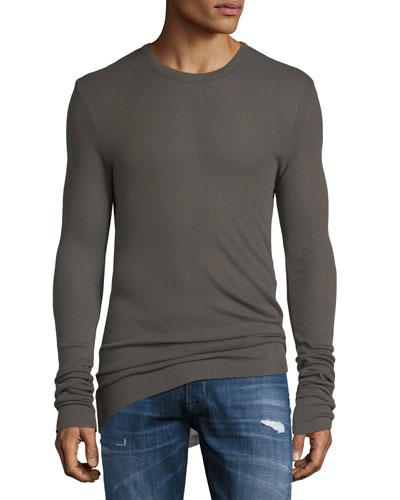 Long-Sleeve Ribbed Crewneck Shirt