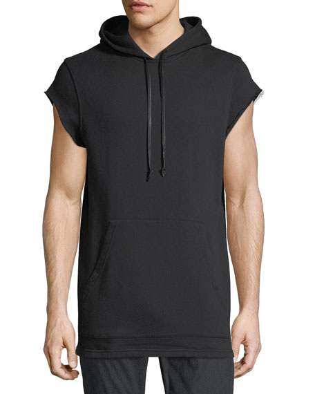 Hudson Cutoff-Sleeve Pullover Hoodie