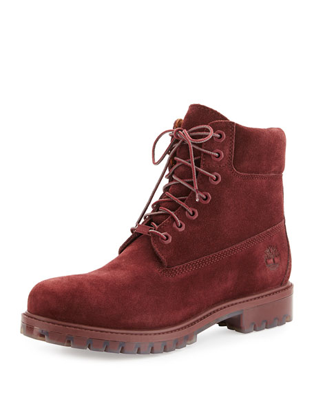 burgundy timberland high heels