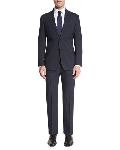 G-Line Mini-Texture Super 150s Wool Two-Piece Suit, Navy