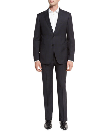 Exclusive Plaid Wool Peak-Lapel Two-Piece Suit, Gray/Navy