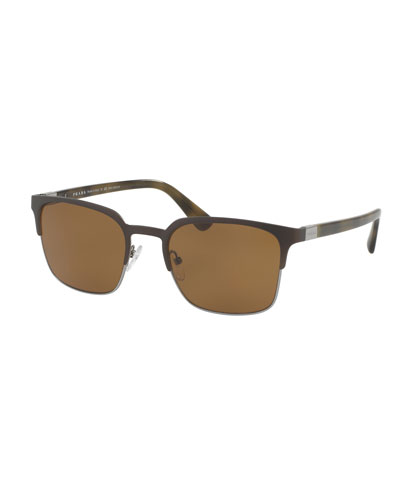 Square Half-Rim Metal Sunglasses w/Polarized Lenses, Gray/Brown