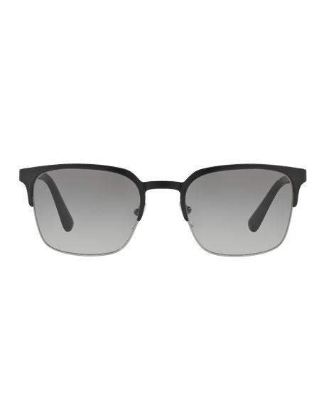 e34ab92ad1f2 PRADA Square Half-Rim Metal Sunglasses