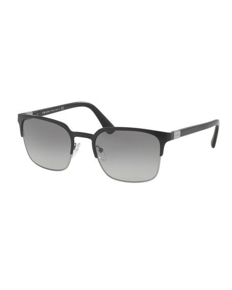 Prada Square Half-Rim Metal Sunglasses, Matte Black/Gunmetal