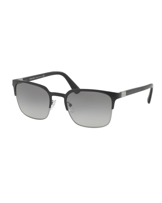 f5b5fb4e3b Prada Square Half-Rim Metal Sunglasses