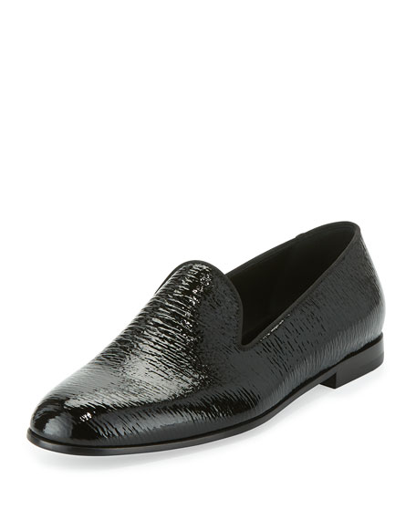 Giorgio Armani Shark-Texture Patent Leather Loafer, Black