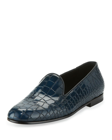 Giorgio Armani Crocodile-Embossed Leather Loafer, Blue
