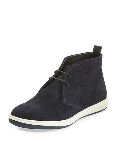 Perforated Suede Rubber-Sole Chukka Boot, Navy