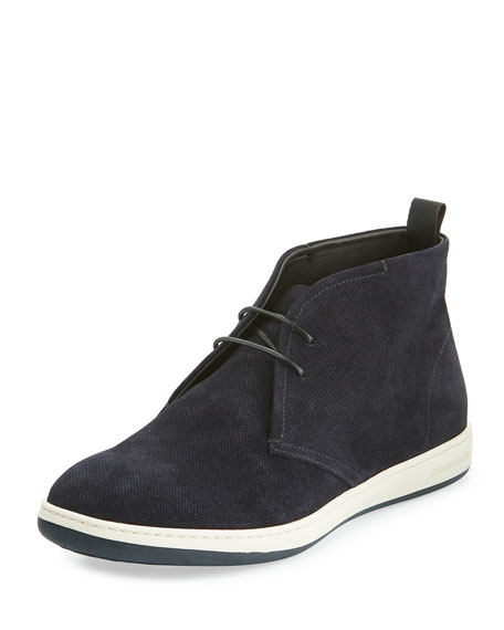Giorgio Armani Perforated Suede Rubber-Sole Chukka Boot, Navy