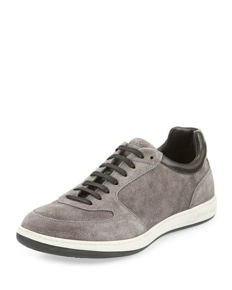 Giorgio Armani Perforated Suede Low-Profile Sneaker, Gray