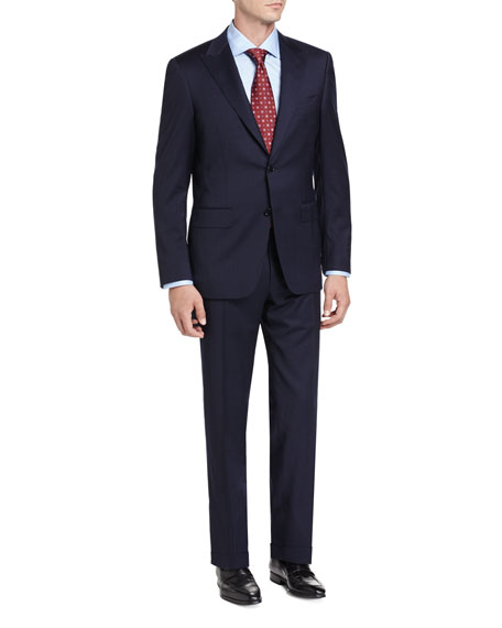 Tonal Stripe Wool Two-Piece Suit, Navy