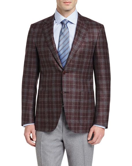 Canali Plaid Two-Button Sport Coat, Burgundy/Gray