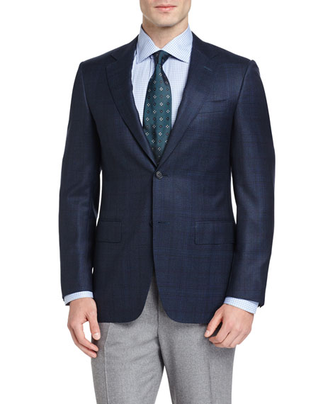 Canali Plaid Wool Two-Button Sport Coat, Navy/Aqua