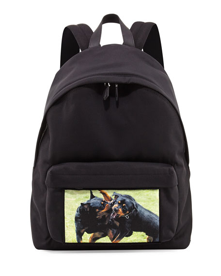 Givenchy Fighting Rottweiler Canvas Backpack, Black