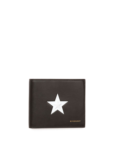 Givenchy Star-Print Leather Wallet, Black