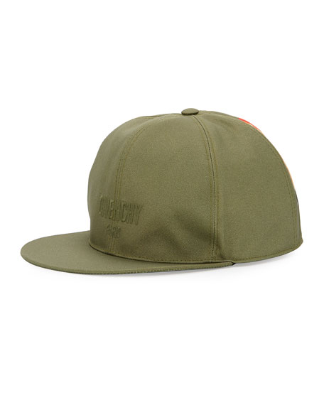 Logo Flat-Bill Hat with Wing Print, Khaki