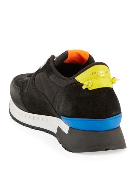 Mixed-Media Colorblock Trainer Sneaker, Black Multicolor