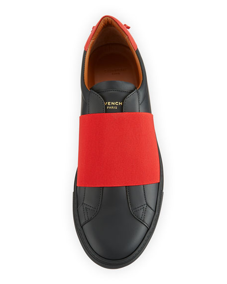 Contrast-Banded Leather Slip-On Sneaker, Black/Red