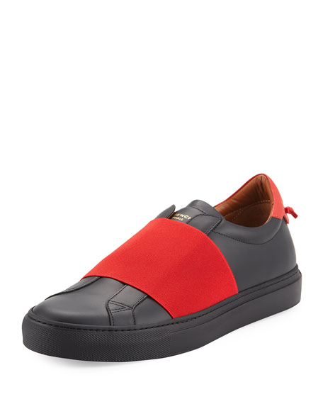 Givenchy Contrast-Banded Leather Slip-On Sneaker, Black/Red