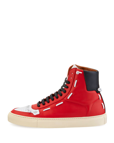 Urban Whipstitch High-Top Sneaker, Red/White/Black