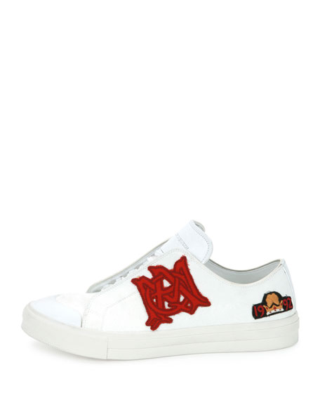 Badges Leather Low-Top Sneaker, White