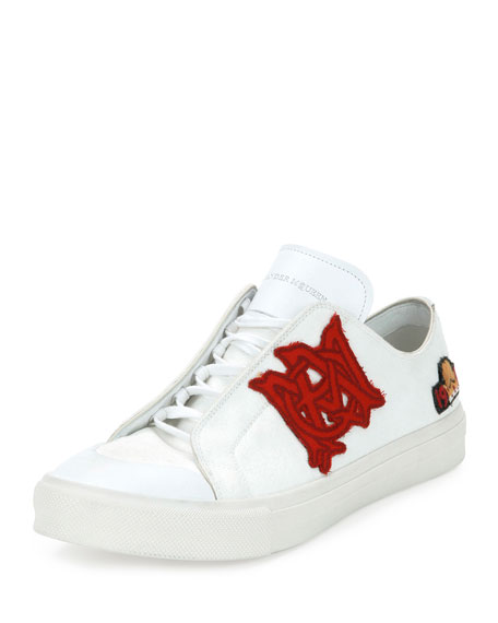 Alexander McQueen Badges Leather Low-Top Sneaker, White