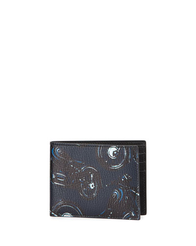 Capsule Now Motorcycle Bi-Fold Leather Wallet, Deep Blue/Black