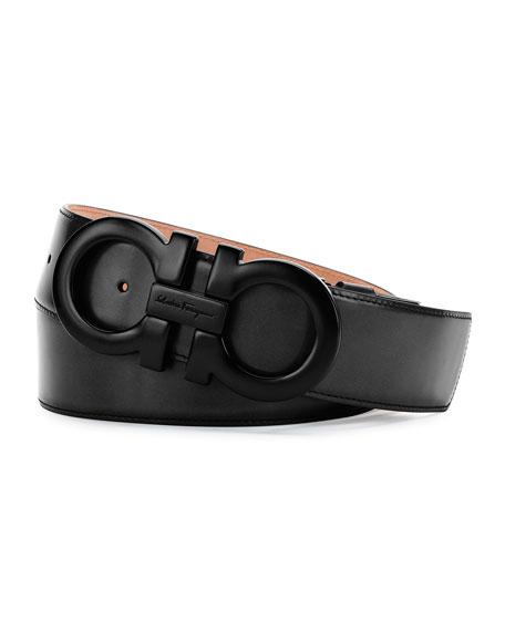 Tonal Gancini Belt, Black/Black