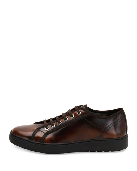 Men's Burnished Calfskin Low-Top Sneaker, Brown