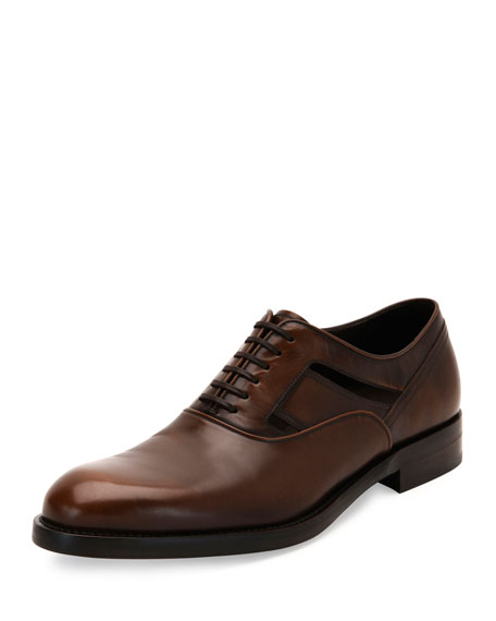 Salvatore Ferragamo Burnished Calfskin Lace-Up Oxford with Side