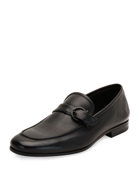 Salvatore Ferragamo Soft Calfskin Side-Gancio Loafer, Black