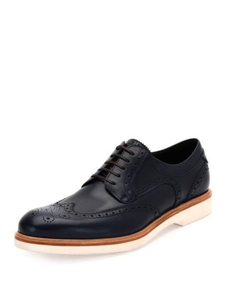 Salvatore Ferragamo Wing-Tip Lace-Up Oxford w/Contrast Sole, Blue