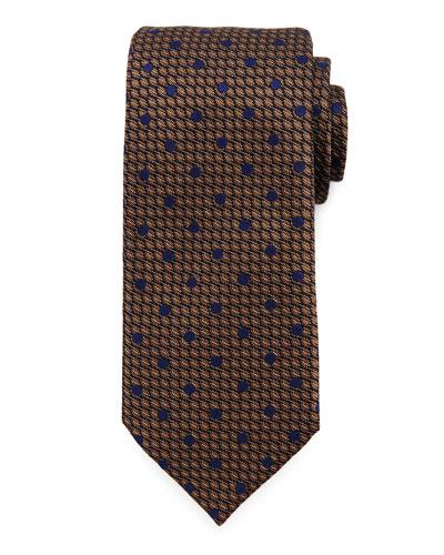 Textured Dot Neat Tie, Brown