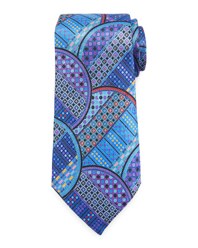 Quindici Geometric Circle Tie, Blue