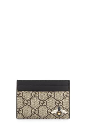Gucci Bestiary Bee-Print GG Supreme Card Case