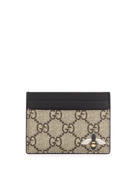 Gucci Bestiary Bee-Print GG Supreme Card Case