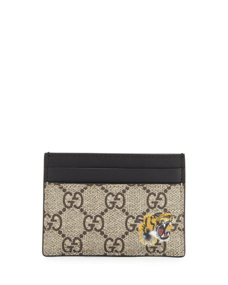 Gucci Bestiary Tiger-Print GG Supreme Card Case