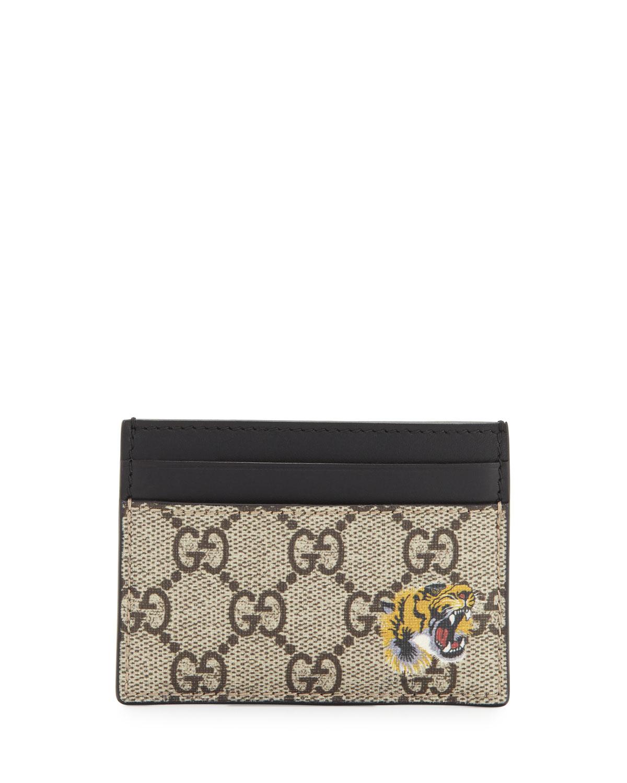 Gucci Bestiary Tiger-Print GG Supreme Card Case | Neiman Marcus