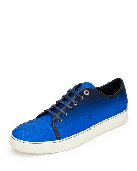 Lanvin Men's Gradient Python Low-Top Sneaker, Blue