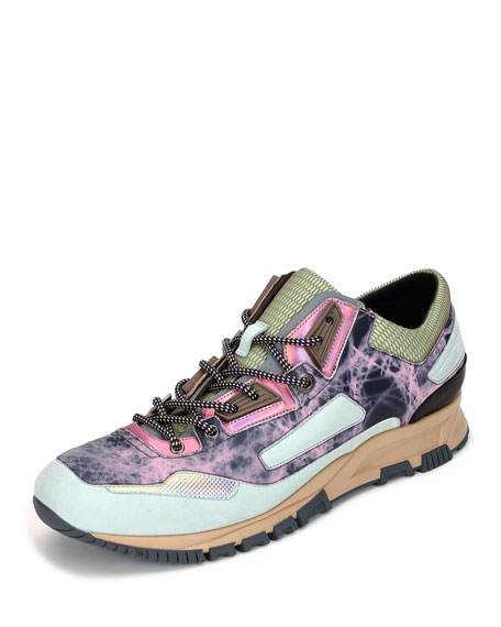 Lanvin Metallic Leather Running Sneaker, Multicolor