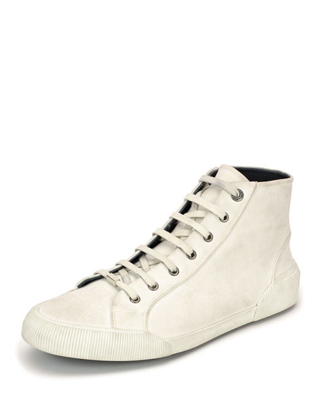 Lanvin Distressed Canvas High-Top Sneaker, White