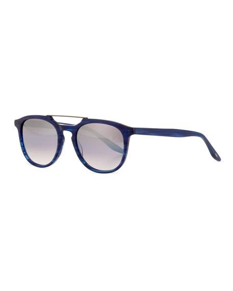 Men's Rainey Rectangular Top-Bar Sunglasses, Cobalt/Silver