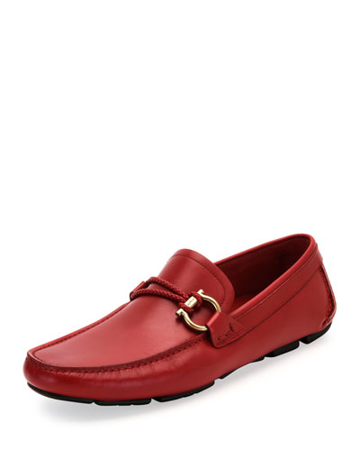 Front Calfskin Side-Gancio Driver, Red