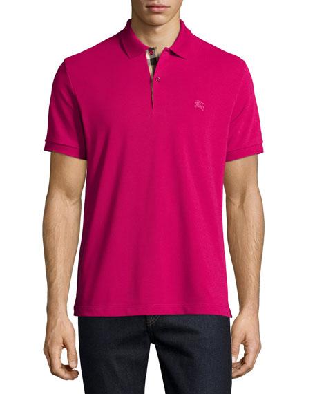 Burberry Short-Sleeve Pique Polo Shirt, FuchsiaPique Polo Shirt