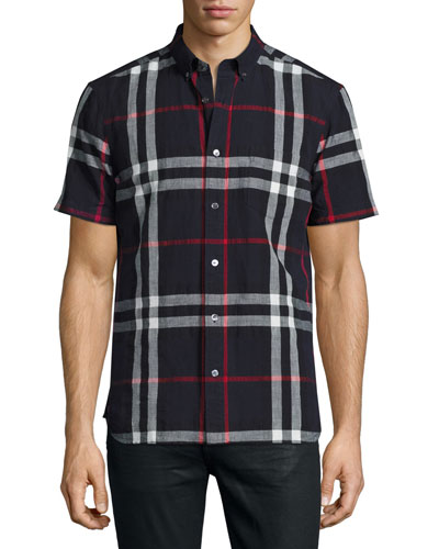 Elfords Check Short-Sleeve Shirt, Navy